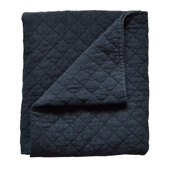 Curated Nest: Nurseries and Design - Diamond Stonewash Navy Quilt - Blanket