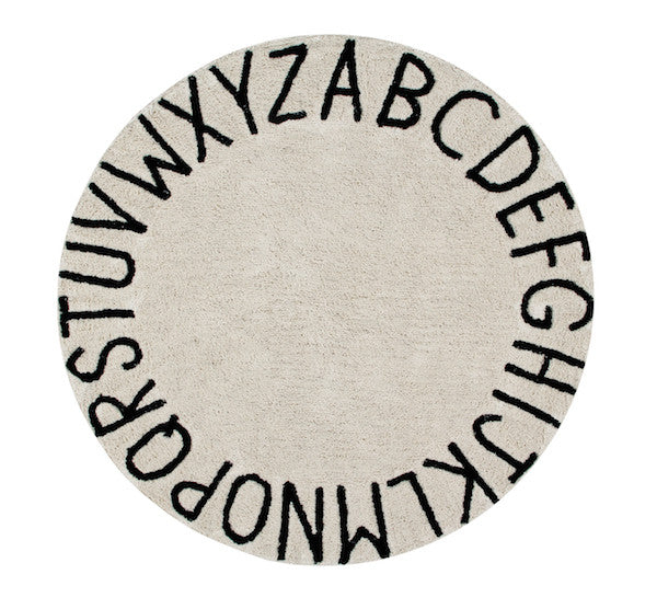 Curated Nest: Nurseries and Design - Round ABC Washable Rug - Rug