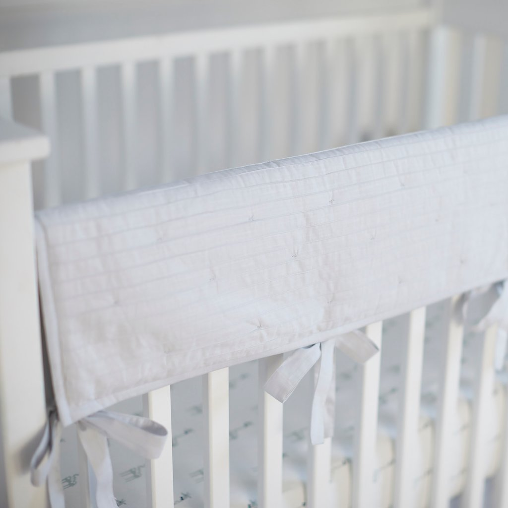 Curated Nest: Nurseries and Design - Gray Pintuck Crib Rail Cover - Bumper