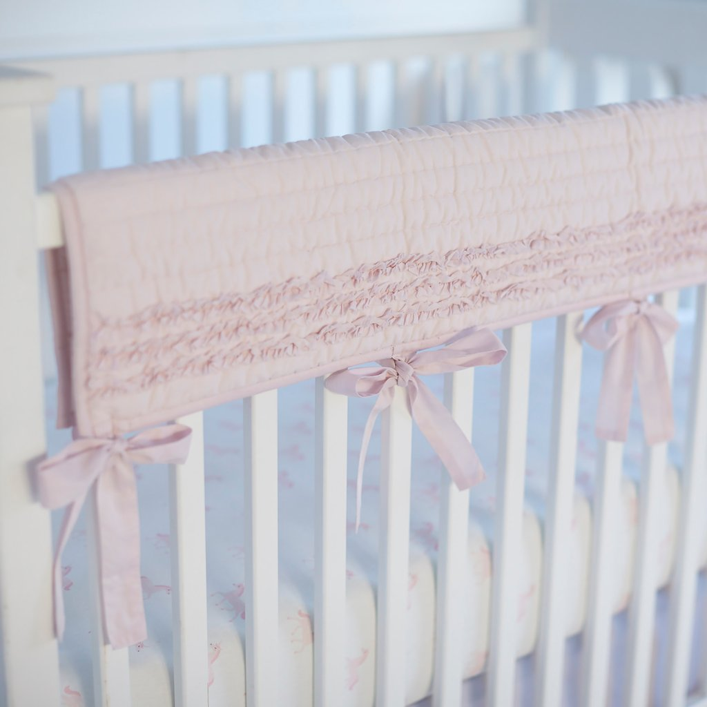 Curated Nest: Nurseries and Design - Petite Ruffle Pink Crib Rail Cover - Bumper