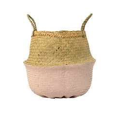 Pink Dipped Seagrass Basket
