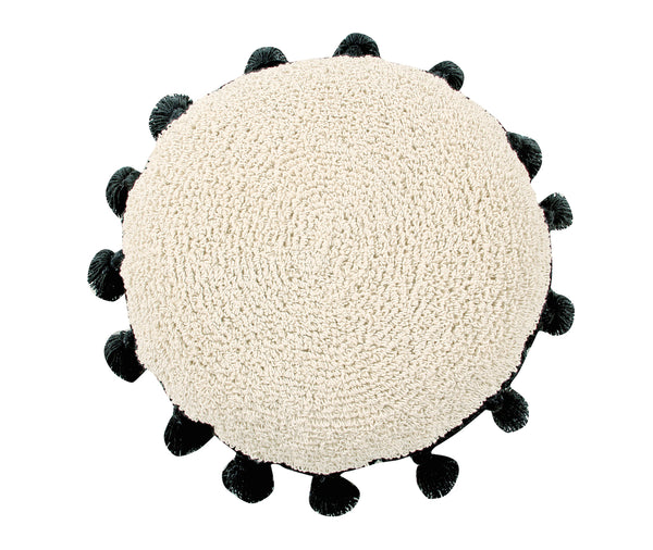 Tassel Floor Cushion - Black