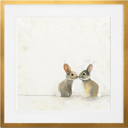 Curated Nest: Nurseries and Design - Baby Bunnies Kissing - Art