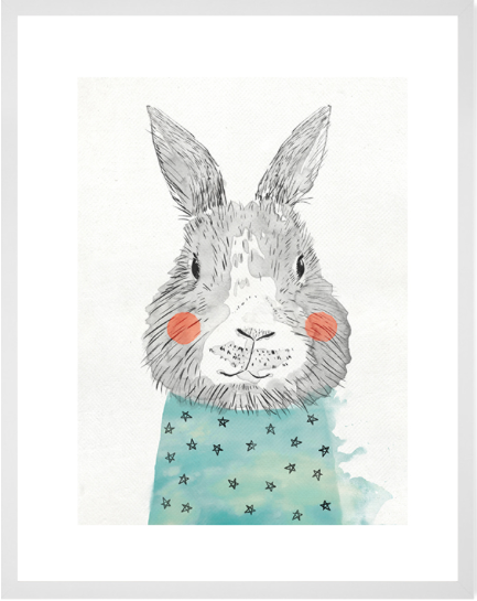 Curated Nest: Nurseries and Design - Cheerful Bunny Print - Art