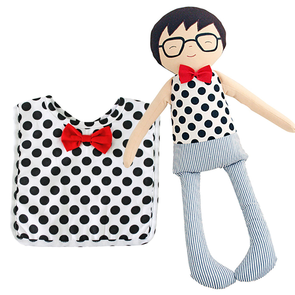 Curated Nest: Nurseries and Design - Hipster Doll and Matching Bib Gift Set - Gifts