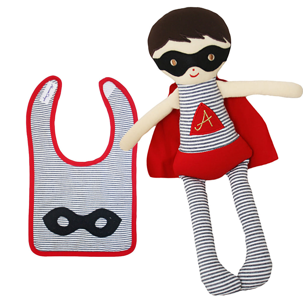 Super Hero Doll and Matching Bib Gift Set