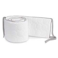 Oilo Stone Grey and White Quilted Crib Bumper