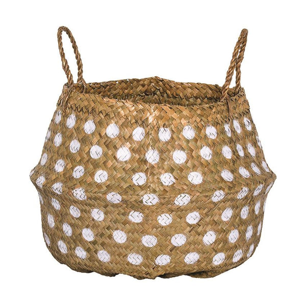 Seagrass Basket with White Polkadots