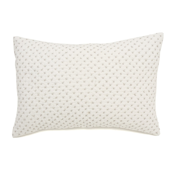 Lumbar Pillow in Grey Cross Stitch