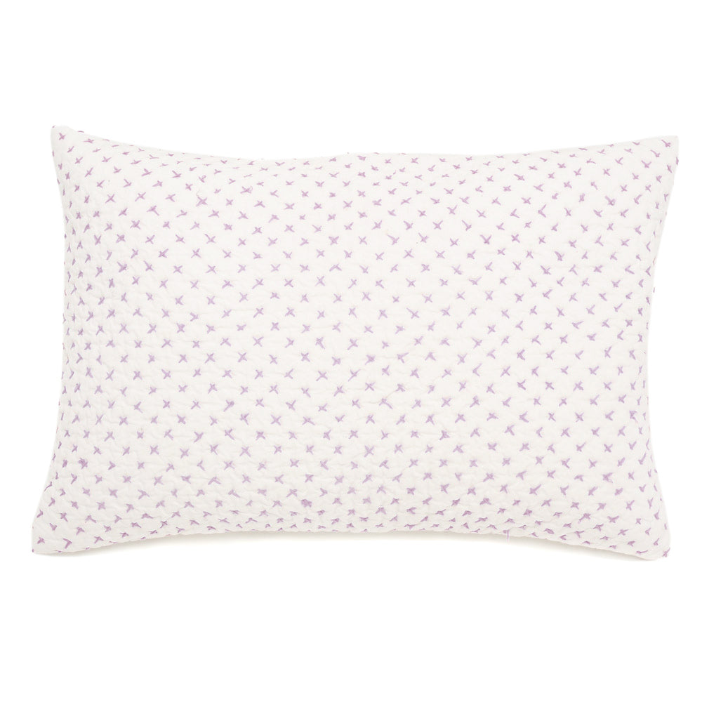 Lumbar Pillow in Lilac Cross Stitch