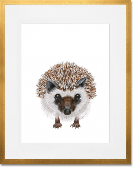 Curated Nest. Custom Design Baby Nursery Room. Products. Decor. Art, Wall. Baby Hedgehog Print. Gold Frame.