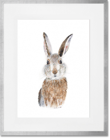 Curated Nest. Custom Design Baby Nursery Room. Products. Decor. Art, Wall. Baby Bunny Print. Silver Frame.