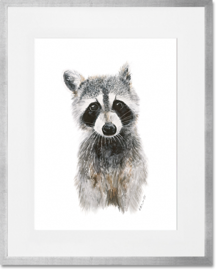 Curated Nest. Custom Design Baby Nursery Room. Products. Decor. Art, Wall. Baby Raccoon Print. Silver Frame.