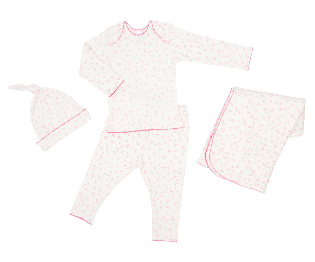Organic Layette Gift Set in Flutter Pink