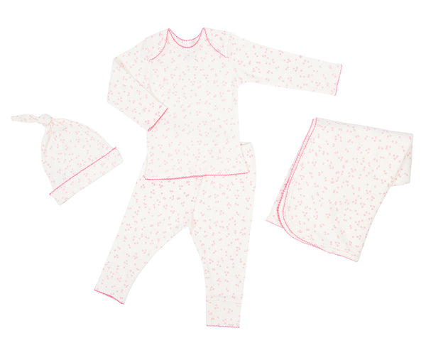 Curated Nest: Nurseries and Design - Organic Layette Gift Set in Flutter Pink - Gifts