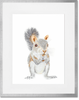 Curated Nest. Custom Design Baby Nursery Room. Products. Decor. Art, Wall. Baby Squirrel Print. Silver Frame.