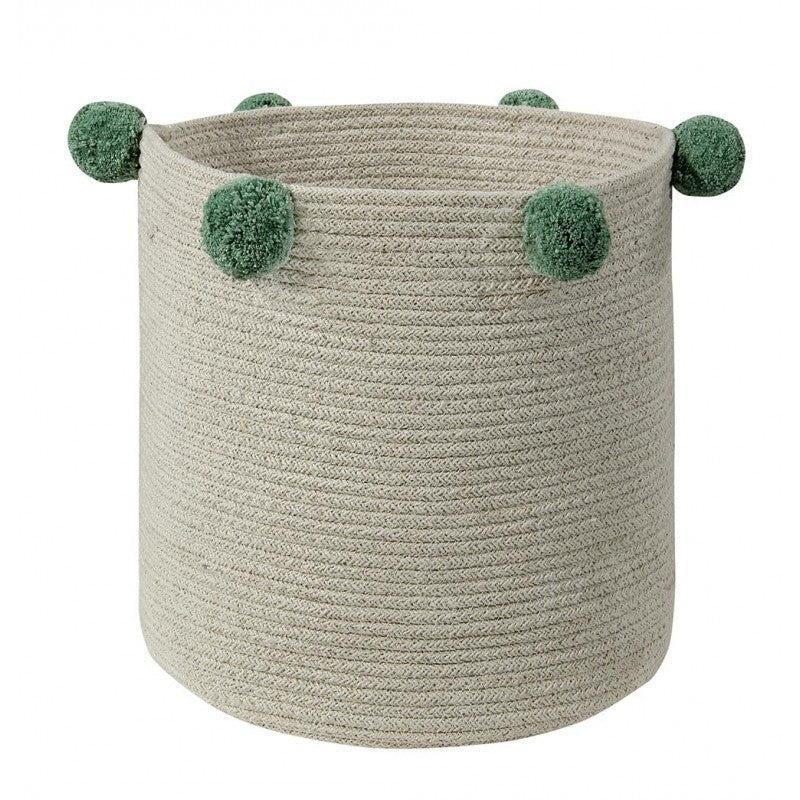 Curated Nest: Nurseries and Design - Natural Green Pom Pom Basket - Storage