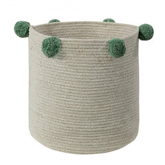 Natural Green Pom Pom Basket