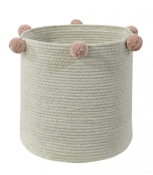 Curated Nest: Nurseries and Design - Natural Pink Pom Pom Basket - Storage