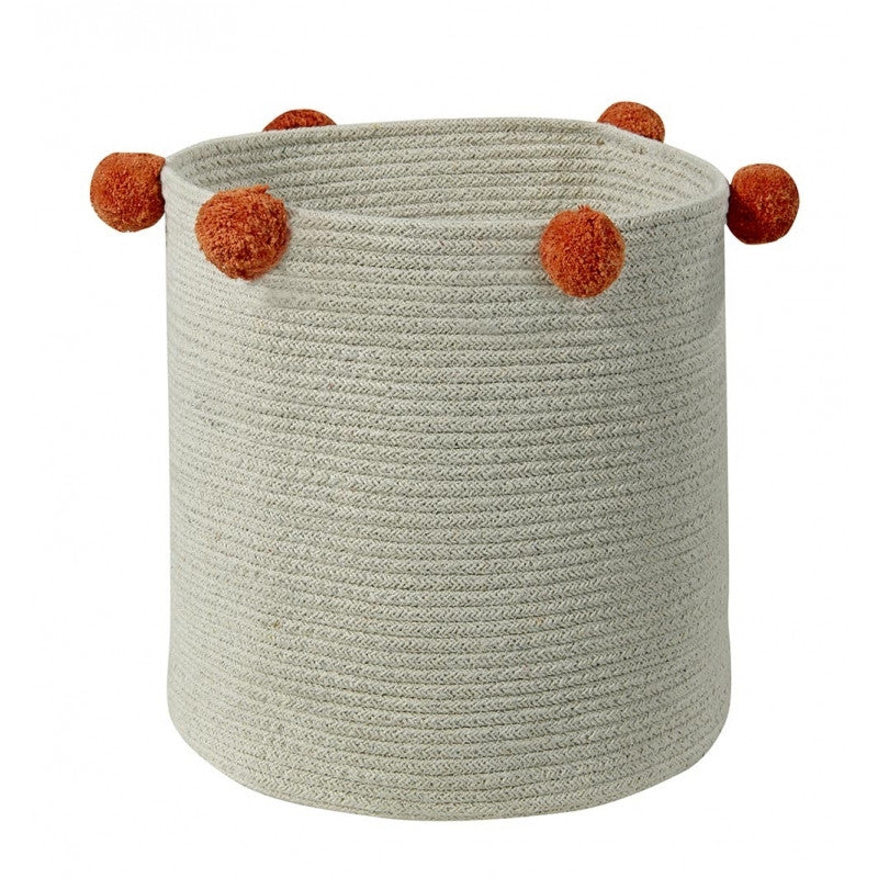 Curated Nest: Nurseries and Design - Natural Terracota Orange Pom Pom Basket - Storage