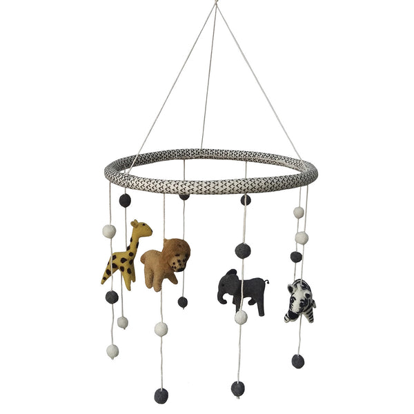 Gray Patchwork Animal Mobile