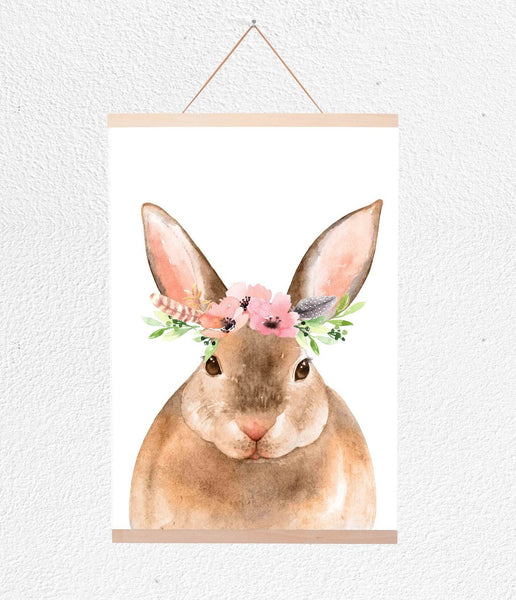 Curated Nest: Nurseries and Design - Bunny with Flower Crown Hanging Print - Art