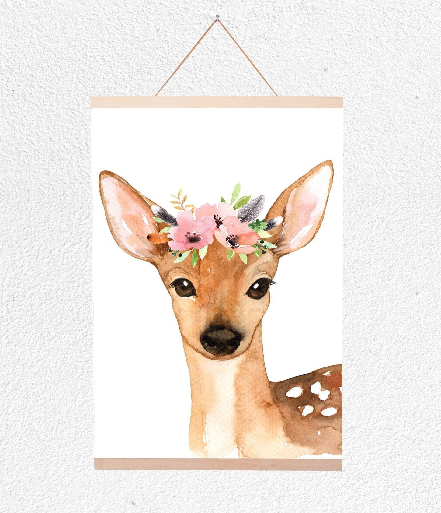 Deer With Flower Crown Hanging Print