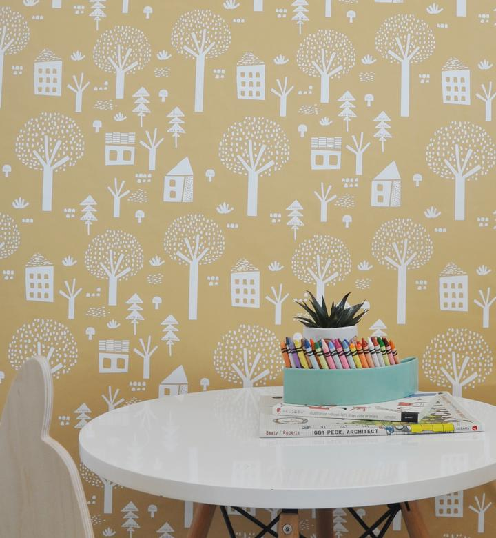 Curated Nest: Nurseries and Design - Folk Village Wallpaper - wallpaper