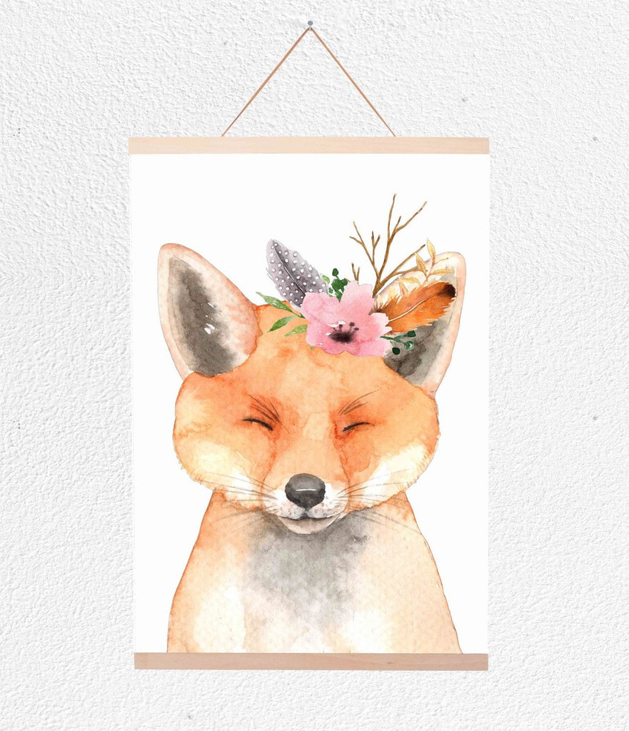 Curated Nest: Nurseries and Design - Fox with Flower Crown Hanging Print - Art