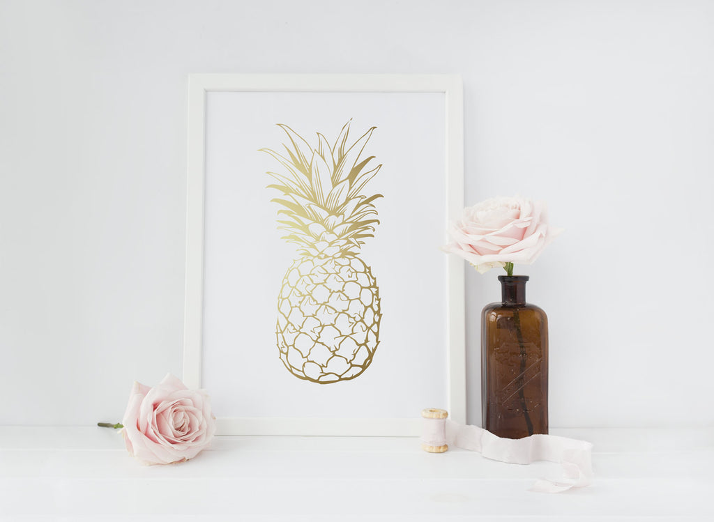 Curated Nest: Nurseries and Design - Gold Foil Pineapple Art - Art