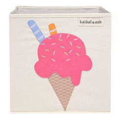 Canvas Storage Box - Strawberry Ice Cream