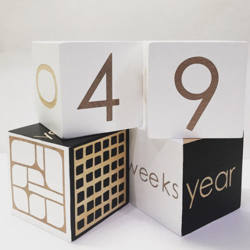 Curated Nest. Custom Design Baby Nursery Room. Products. Gifts. Black and White Milestone Blocks.