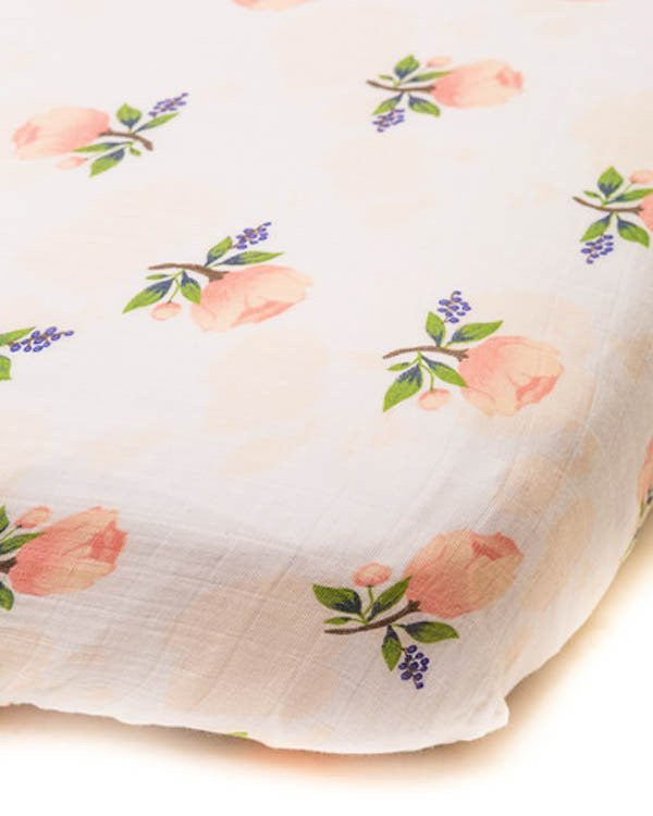 Muslin Crib Sheet - Watercolor Rose