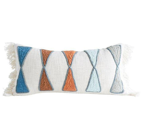 Modern Triangles Embroidered Pillow