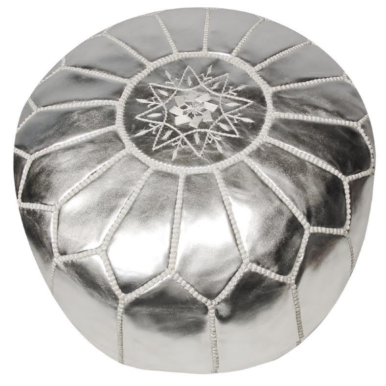 Curated Nest: Nurseries and Design - Shining Silver Moroccan Pouf - Pouf