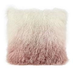 Tibetan Sheepskin Pillow in Blush Ombre