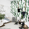 Green and White Watercolor Cactus Wallpaper with Matte Finish in room example