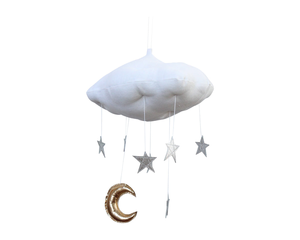 Curated Nest: Nurseries and Design - Luxe Cloud Mobile with Silver Stars - Accessories