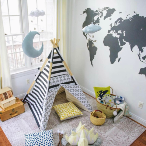 Chalkboard world map decal curated nest nurseries and design chalkboard world map decal decal gumiabroncs Gallery