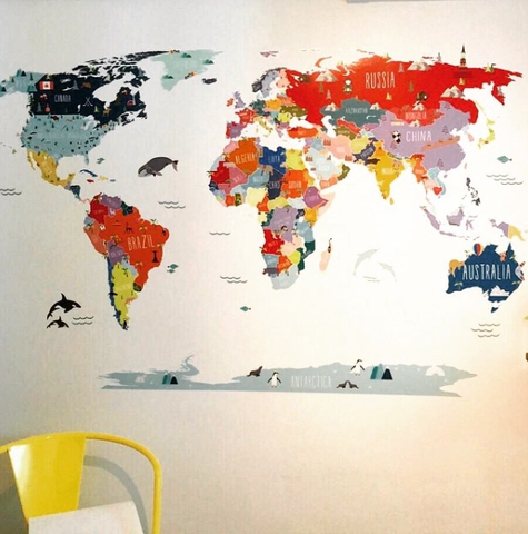 Colorful World Map Art.Colorful World Map Decal