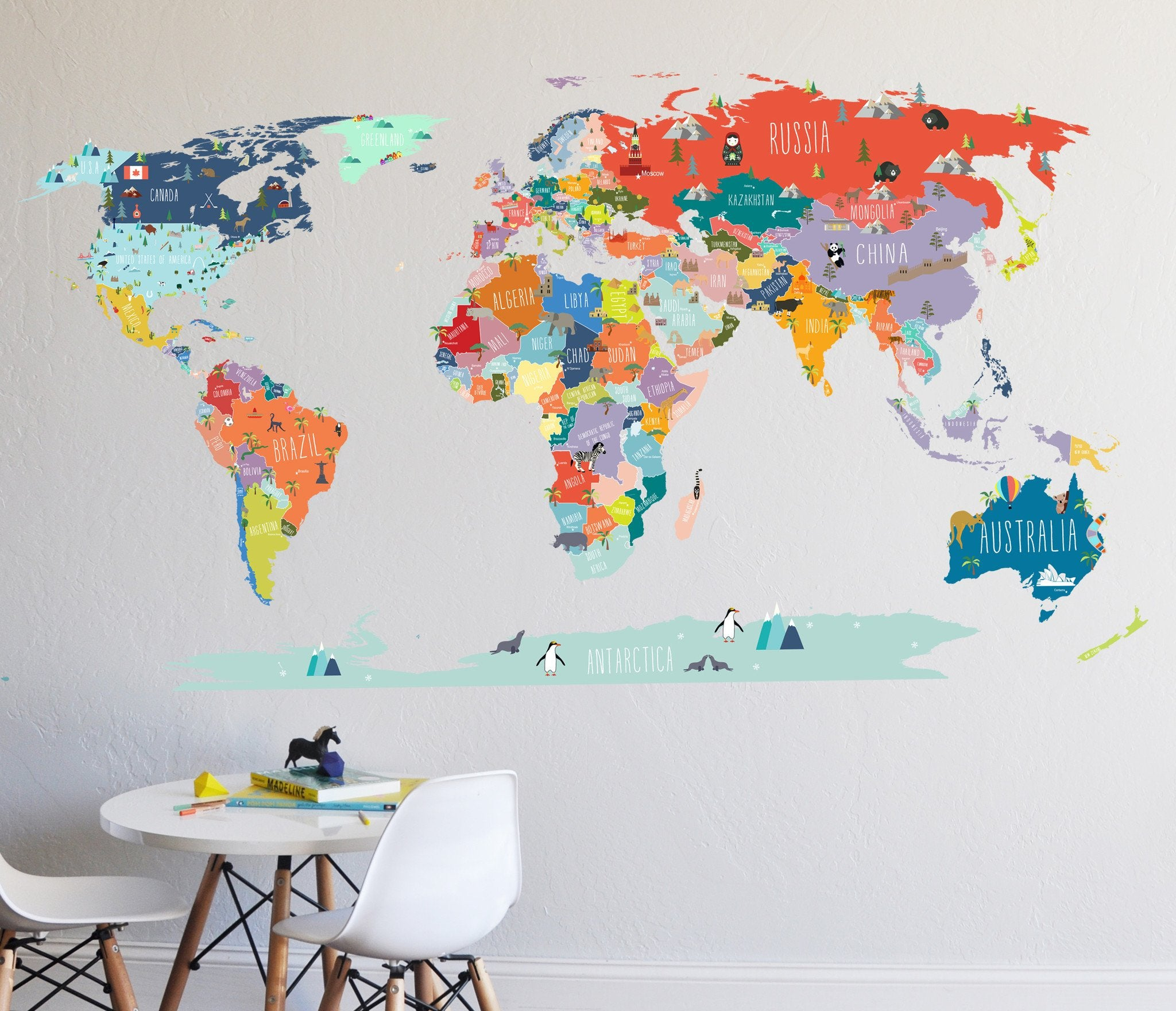 Colorful world map decal curated nest nurseries and design colorful world map decal decal gumiabroncs Image collections