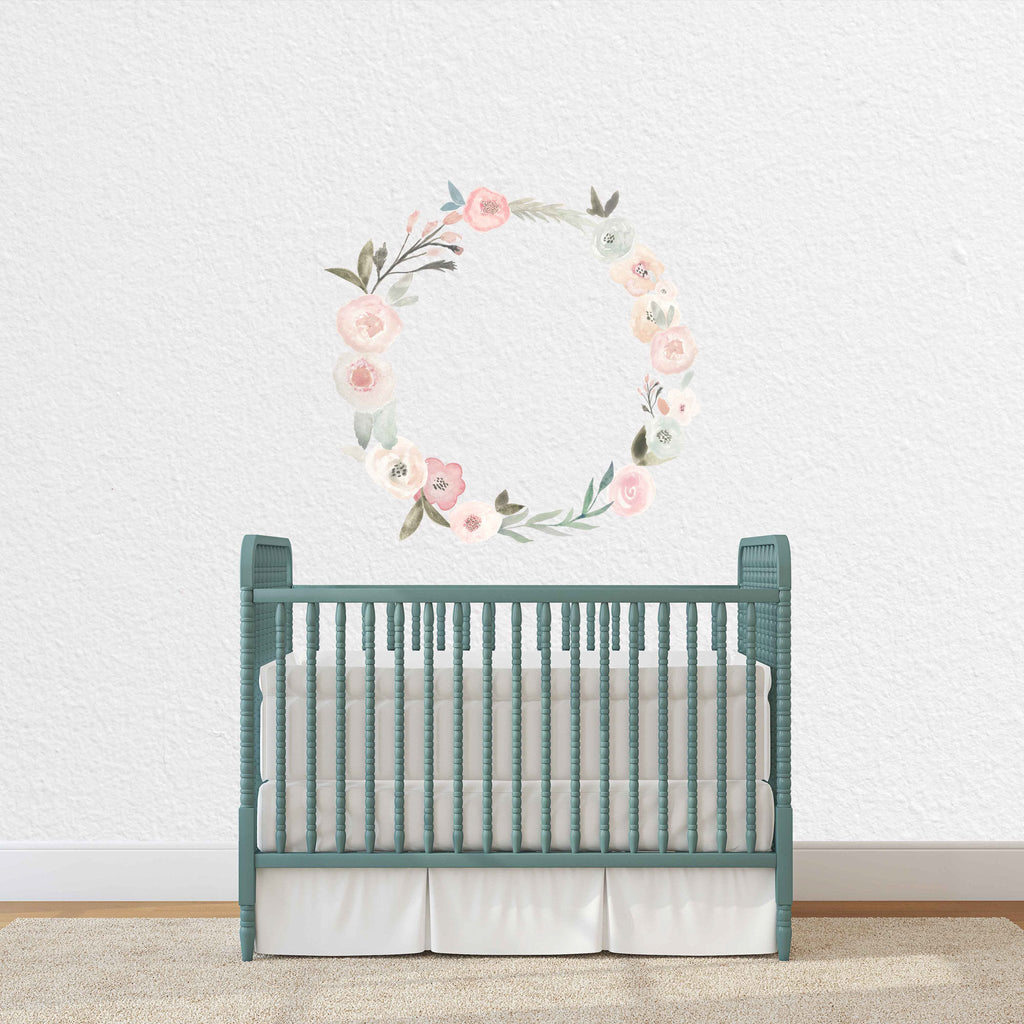 Curated Nest: Nurseries and Design - Blush Floral Wreath Decal - wallpaper