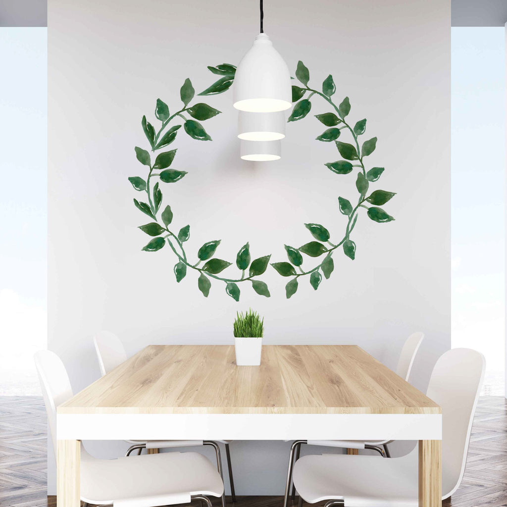Curated Nest: Nurseries and Design - Green Leaves Wreath Decal - wallpaper