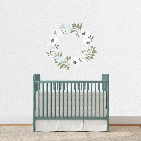 White Floral Wreath Decal