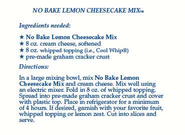 No-Bake Lemon Cheesecake Mix
