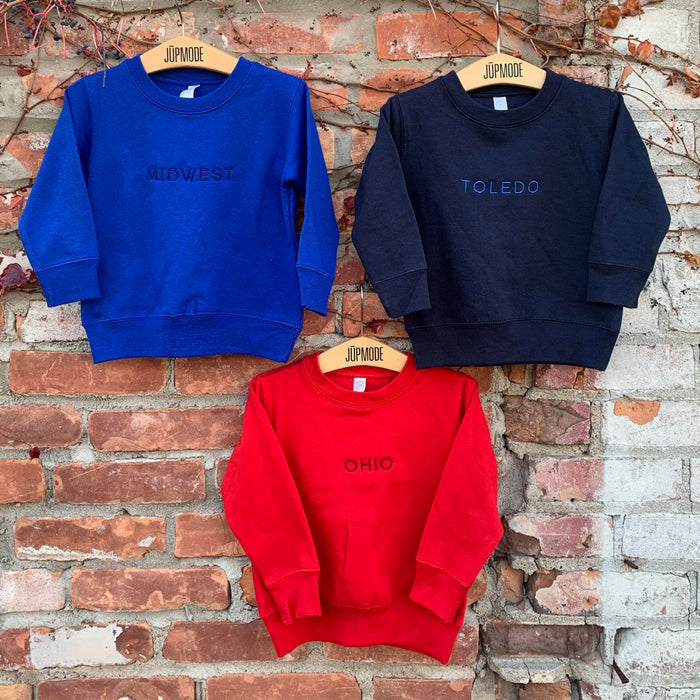New Midwest, Ohio, and Toledo Youth Embroidered Crew Sweatshirts!