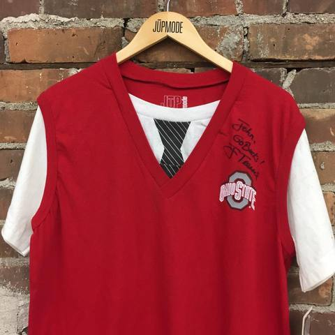 The Ohio Shirt Club begins with the Ohio State Sweater Vest T-shirt