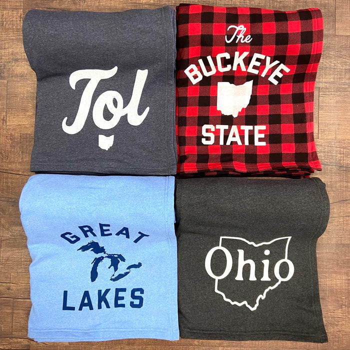 Midwesterner, Ohio, Great Lakes, and Toledo Sweatshirt Blankets (New Release)