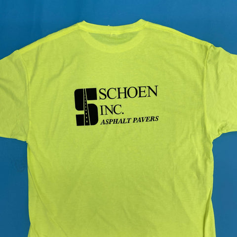 safety green t-shirt with schoen inc asphalt pavers logo on the back