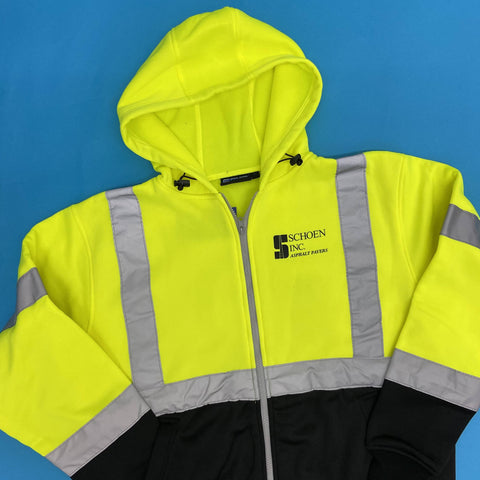 hi vis reflective jacket with hood that has schoen inc logo screen printed on the left chest